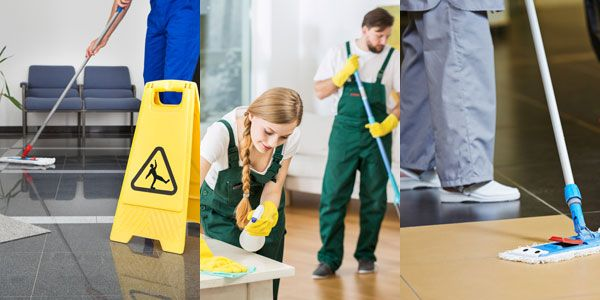 Team of cleaning staff working in domestic and commercial properties